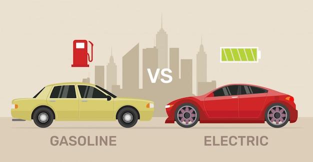 Het vergelijken van elektrische versus benzine auto.