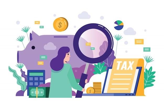 Het vergrootglas van de bedrijfsvrouwenholding om financiële gegevens te controleren.