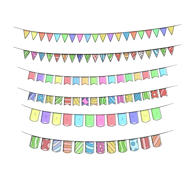 Het verjaardagslint plaatst hand tekening kleurrijke illustratie