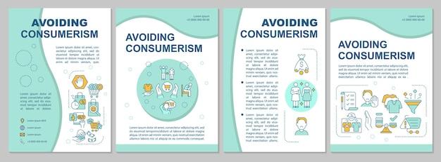 Het vermijden van consumentisme blauwe brochure sjabloon. overmatige consumptie. flyer, boekje, folder afdrukken, omslagontwerp met lineaire pictogrammen. vectorlay-outs voor presentatie, jaarverslagen, advertentiepagina's