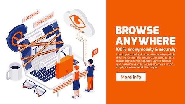 Het vermijden van internetcensuur isometrische webbanner voor veilig anoniem browsen waarbij geblokkeerde sites en beperkingen worden omzeild