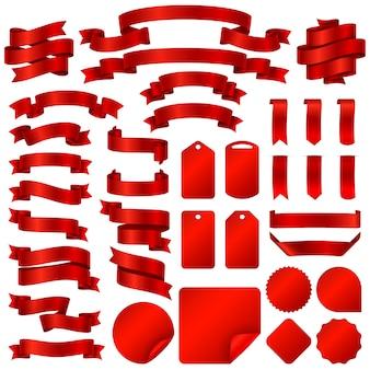 Het verpakken van rode lintbanners en de vectorreeks van prijskaartjekentekens.