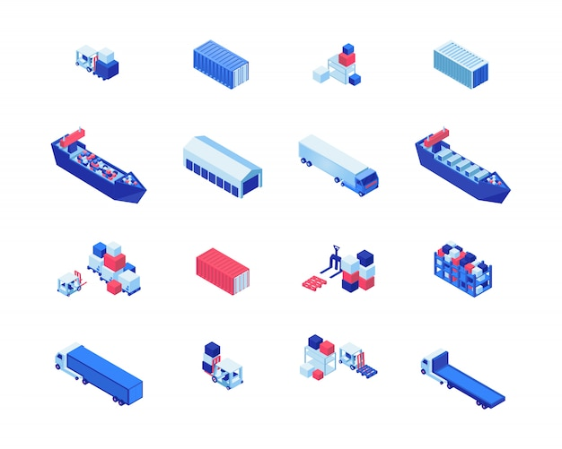 Het verschepen van bedrijfs isometrische vector geplaatste illustraties. vrachtschepen, magazijnopslag, vorkheftrucks met vracht- en vrachtwagens. maritieme verzendingslevering, de elementen van het vervoersindustrieontwerp