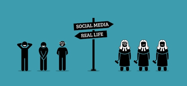 Het verschil tussen menselijk gedrag in het echte leven en sociale media.