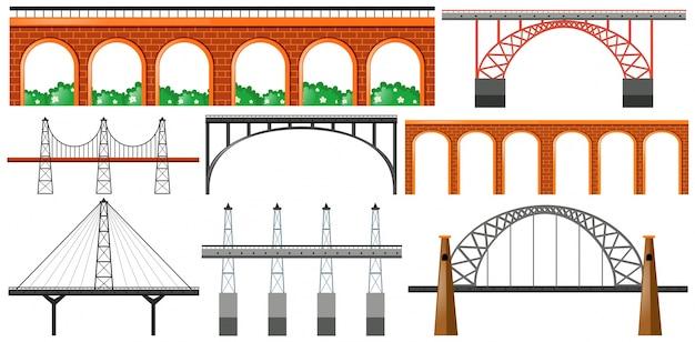Het verschillende ontwerp van de bruggen