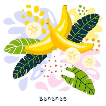 Het verse banaan tropische fruitsap bespat natuurvoeding rijpe sappige bananen ploetert op abstracte hand getrokken illustraties als achtergrond