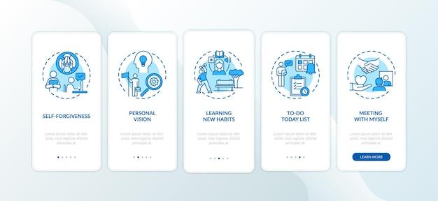 Het verslaan van uitstelmethoden op het scherm van de mobiele app-pagina met concepten