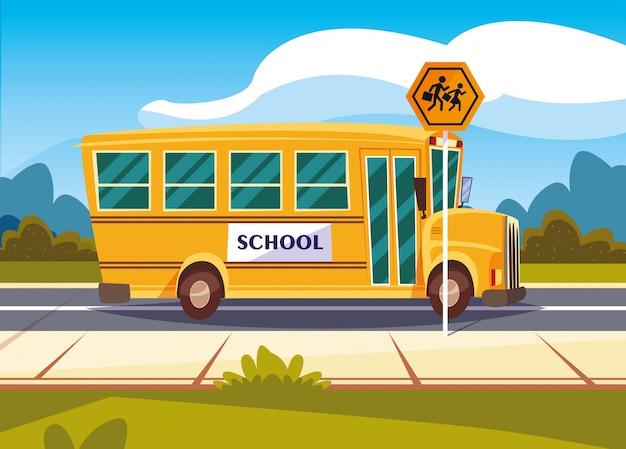 Het vervoer van de schoolbus in weg met signage