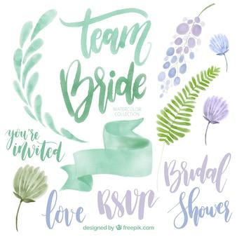 Het verzamelen van aquarel bruiloft elementen in groene en paarse tinten