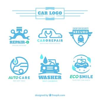 Het verzamelen van auto logo's in blauwe tinten