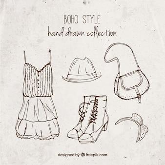 Het verzamelen van boho kleding hand getekende