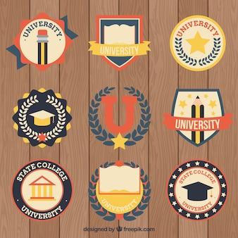 Het verzamelen van college logo in vintage stijl