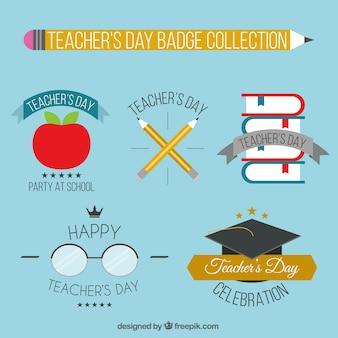 Het verzamelen van dag van de leraar badges