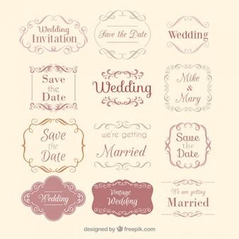 Het verzamelen van de hand getekende bruiloft badges in vintage design