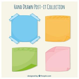 Het verzamelen van de hand getekende gekleurde post-it