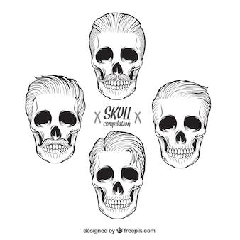 Het verzamelen van de hand getekende mannelijke schedels