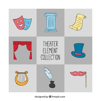 Het verzamelen van de hand getekende theater elementen