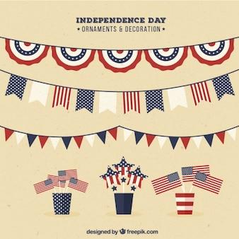 Het verzamelen van de onafhankelijkheid dag krans en decoratie