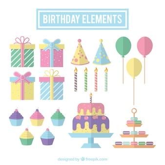 Het verzamelen van de verjaardag van elementen in pastel kleuren