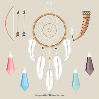 Het verzamelen van dreamcatchers en andere etnische elementen