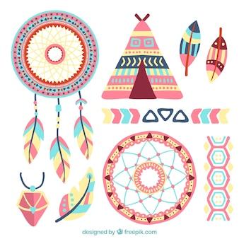 Het verzamelen van dreamcatchers en etnische hand geschilderde elementen