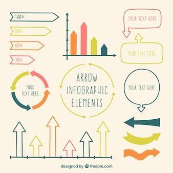 Het verzamelen van gekleurde infographic pijlen