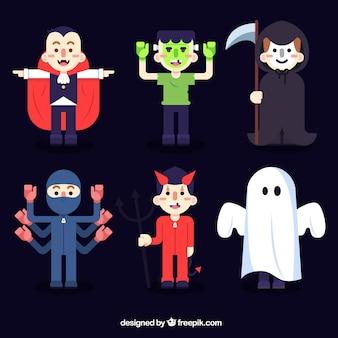 Het verzamelen van halloween gekostumeerde personages