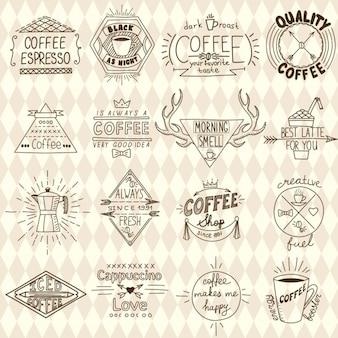 Het verzamelen van hipster schetsmatige koffie etiketten vector illustratie