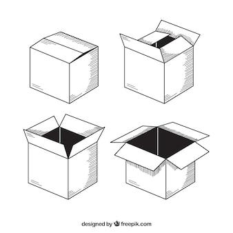 Het verzamelen van kartonnen dozen voor verzending