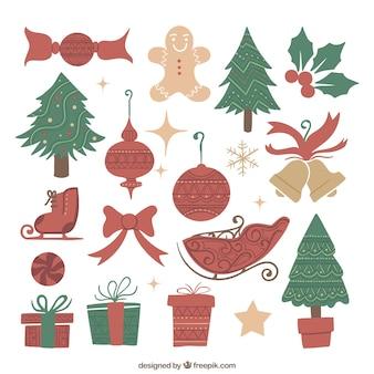 Het verzamelen van kerst elementen in schetsmatige stijl