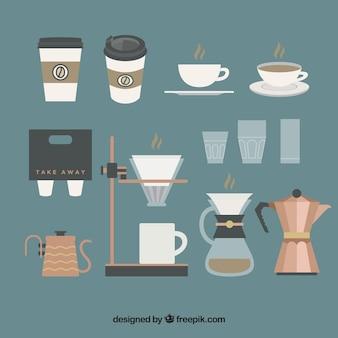 Het verzamelen van koffie elementen in vintage stijl