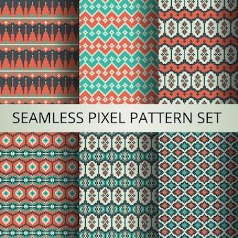 Het verzamelen van pixel kleurrijke naadloze patronen