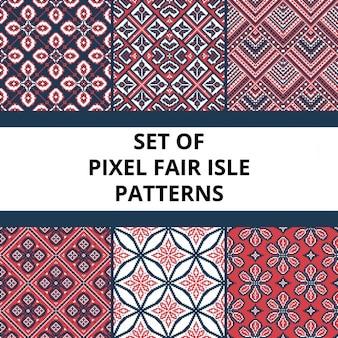 Het verzamelen van pixel retro naadloze patronen met gestileerde fair isle ornament vector illustratie