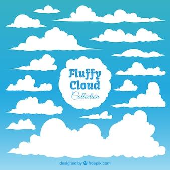 Het verzamelen van pluizige witte wolken
