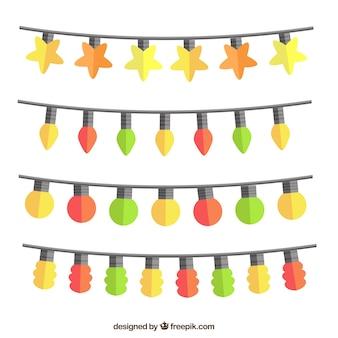 Het verzamelen van snaren met kleurrijke lampen