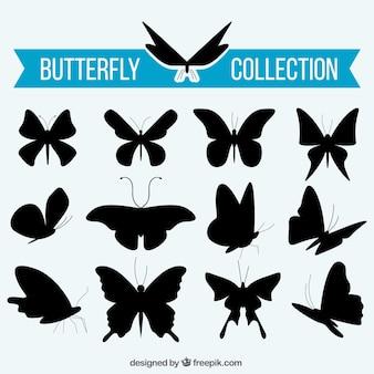 Het verzamelen van vlinders silhouetten