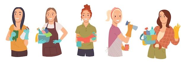 Het verzamelen van vrouwen is klaar voor het schoonmaken houdt in handgereedschap voor het schoonmaken van doeleinden geïsoleerd op een witte achtergrond.