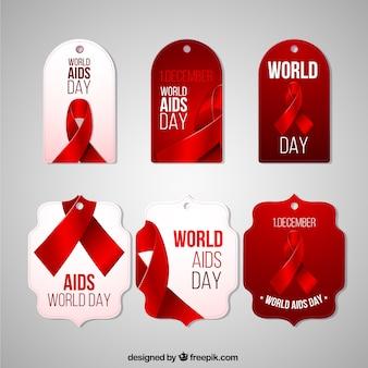 Het verzamelen van wereld aids dag-tags