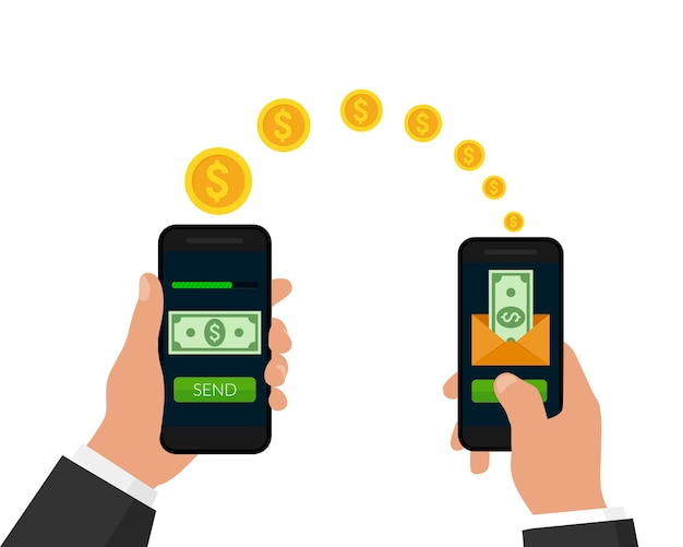 Het verzenden en ontvangen van geldconcept mobiel geld overmaken mobiel online bankieren