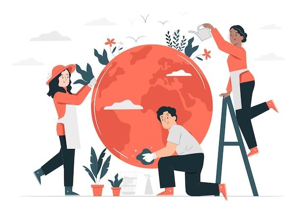 Het verzorgen van de aarde concept illustratie