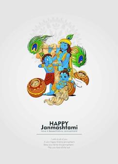Het vieren van het gelukkige janmashtami-festival in india met een illustratie van heer krishna