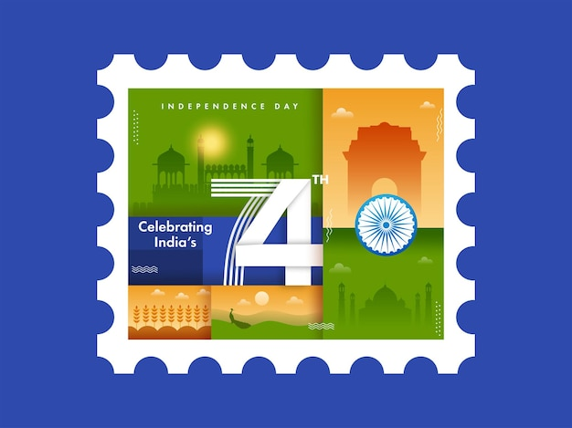 Het vieren van india's 74e onafhankelijkheidsdag concept met beroemd monument op blauwe achtergrond.