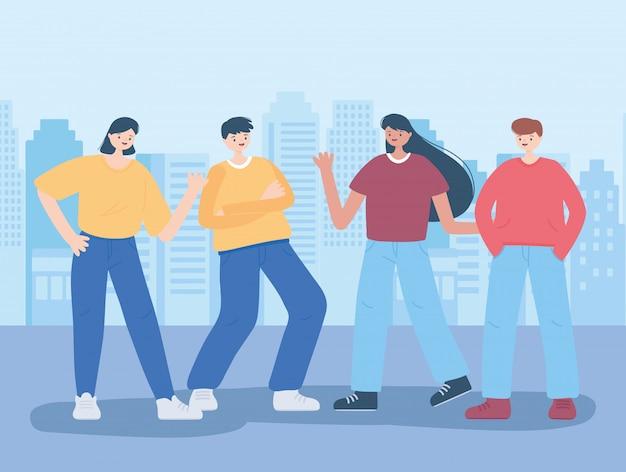 Het vieren van jonge mannen en vrouwen stripfiguren in de stad illustratie