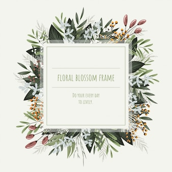 Het vierkante bloemenkader voor uitnodigingskaarten en afbeeldingen.