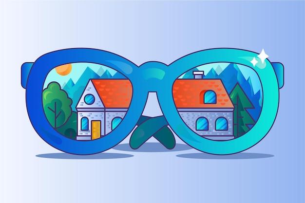 Het vinden van de perfecte vector voor het makelaarskantoor voor thuis. droomhuis zoeken en vinden, woonhuis bouwen en brillenglazen. cottage constructie in bos natuur platte cartoon afbeelding