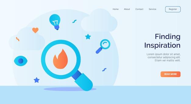 Het vinden van inspiratie loupe icoon campagne voor web website home homepage landing sjabloon banner met cartoon vlakke stijl vector design.