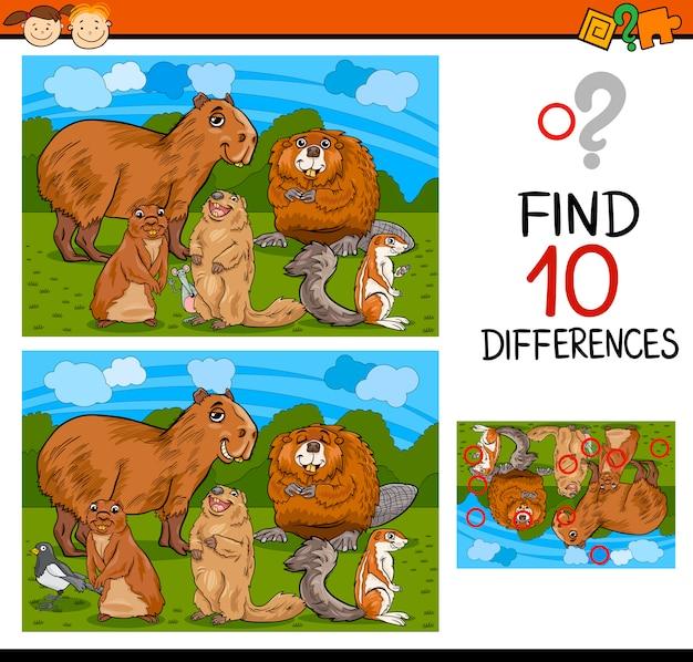 Het vinden van verschillen game cartoon