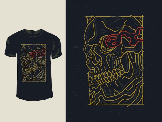 Het vintage t-shirtontwerp van de monoline vlamschedel