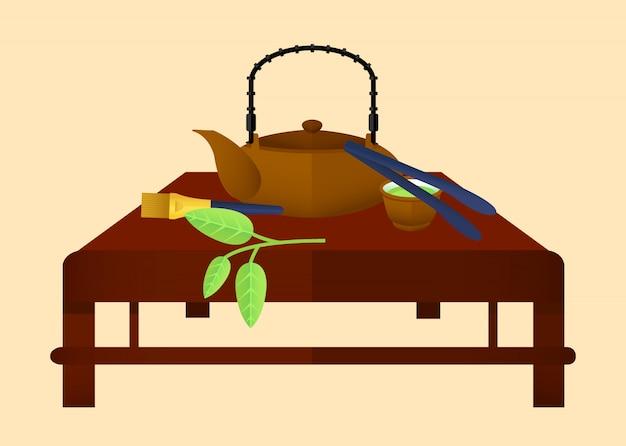 Het vlakke chinese concept van de theetijd