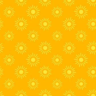 Het vlakke naadloze patroon van zonpictogrammen voor apps en websitesachtergronden